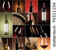 wine collage, beautiful collection of wine images - stock photo