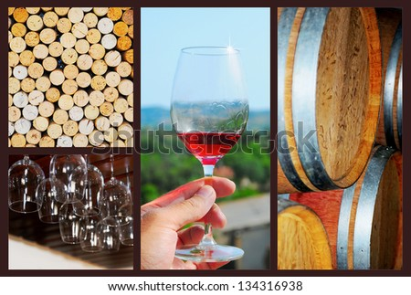 Wine collage. Beautiful set of wine images - stock photo