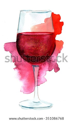 Wine collage with a watercolor drawing of a glass of red wine with a watercolor stain, on white background - stock photo