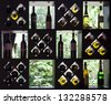 Wine collection on wooden shelves with bottles and glasses - stock photo