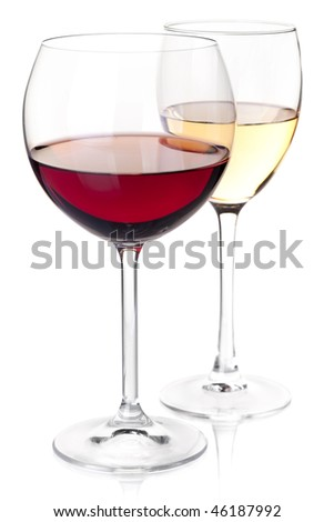Wine collection - Red and white wine in glasses. Closeup. Isolated on white background - stock photo