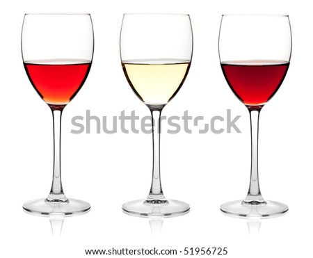 Wine collection - Rose, White and Red wine. Isolated on white background - stock photo