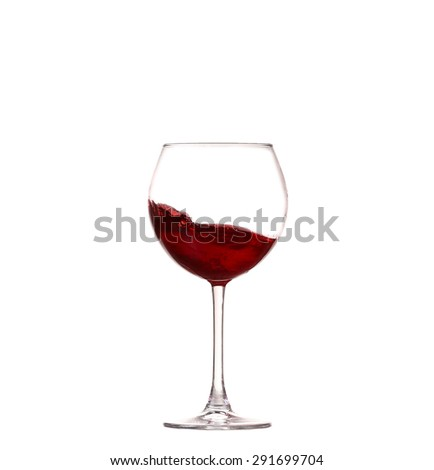 Wine collection - Splashing red wine in a glass. Isolated on white background - stock photo
