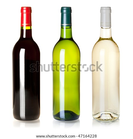 Wine collection - Three closed wine bottles without labels. Isolated on white background - stock photo