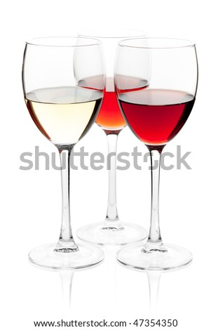 Wine collection - White, Rose and Red wine. Isolated on white background - stock photo