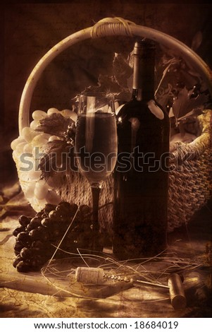Wine composition: glass and bottle of wine