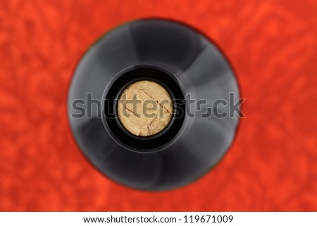 Wine concept / Wine bottle  on red background/ top view