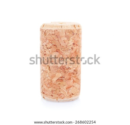 Wine cork isolated on white - stock photo