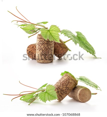 Wine cork with grape illustration and green leaves. Isolated on white background - stock photo
