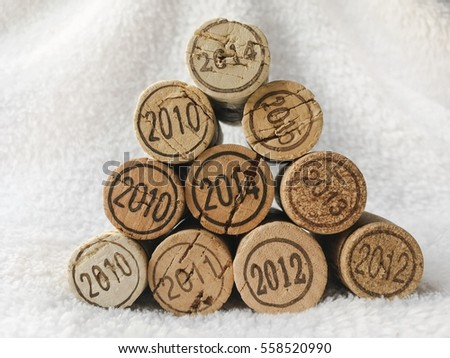 wine cork with year numbers on white background