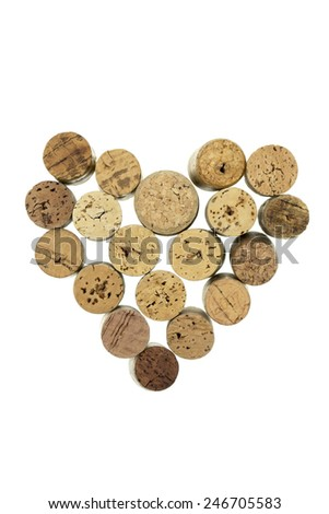 Wine corks form filled with heart shape isolated on white background vertical