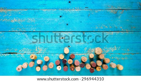 wine corks,free copy space - stock photo