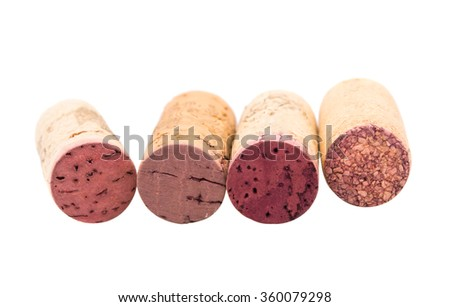Wine corks isolated on a white background - stock photo
