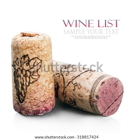 Wine corks isolated on white background. for example, and the text is removed - stock photo