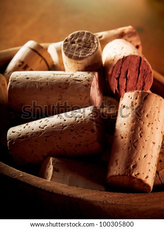 Wine corks macro shot. - stock photo