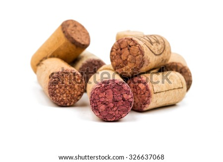 wine corks on a white background - stock photo