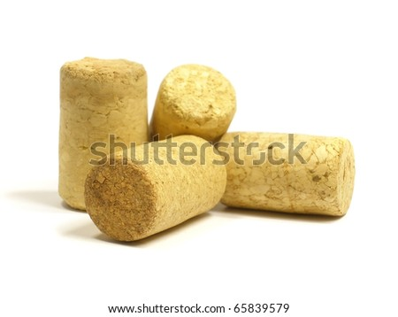Wine corks on the white isolate background - stock photo