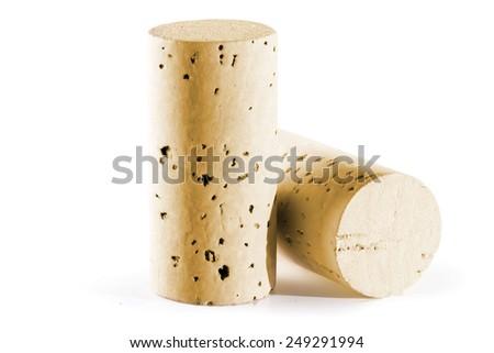 wine corks on white background - isolated - stock photo