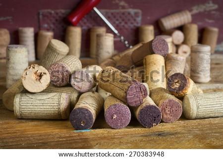 wine corks,selective focus, close up - stock photo
