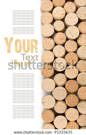 wine corks set  isolated on white - stock photo