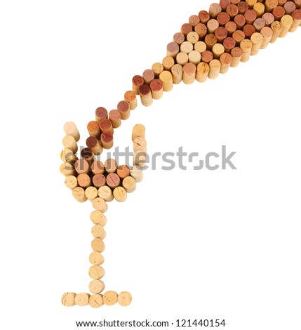 Wine corks shaped into a wineglass and bottle with wine pouring into the glass. Square format on a white background. - stock photo