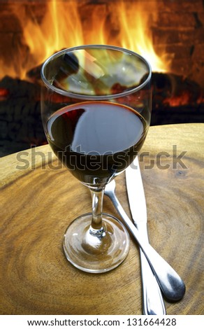 wine fireplace - stock photo