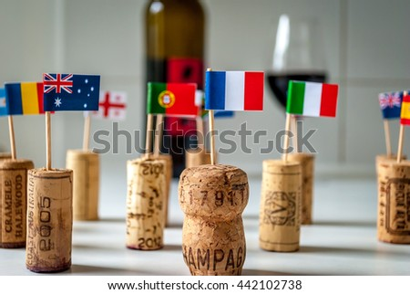 Wine from all over the world, French, Australian, Romanian, Italian - stock photo