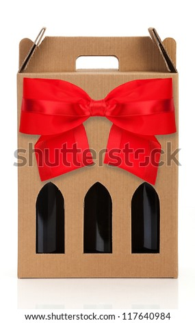 Wine gift box with red ribbon - stock photo