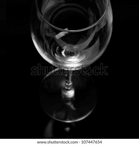 Wine Glas on Black Backgorund - stock photo