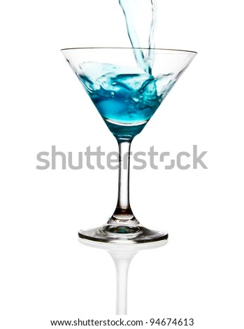 wine glass and blue wine isolated