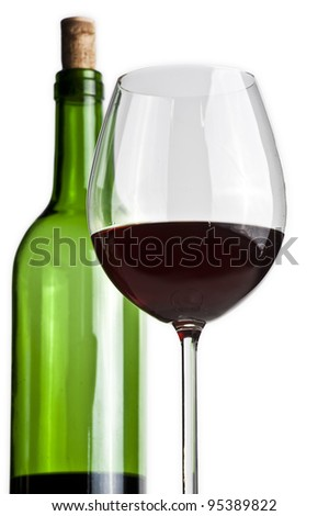 Wine glass and bottle - stock photo