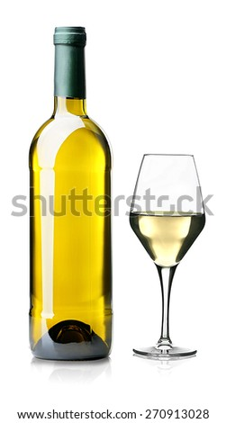 Wine glass and bottle isolated on white - stock photo