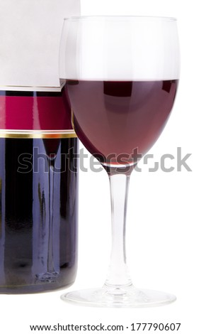 Wine glass and bottle of wine isolated on white background.