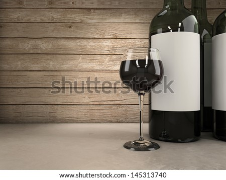 Wine glass and bottles background - stock photo