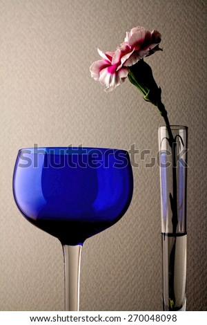 Wine glass  and carnation background design. - stock photo