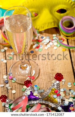 wine glass and carnival glitter