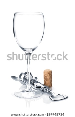 Wine glass and corkscrew. Isolated on white background - stock photo