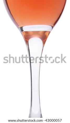 Wine glass and wine on white background