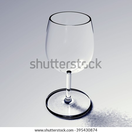 wine glass 3d rendering  - stock photo