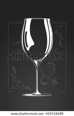 wine glass.  hand drawn illustration in cartoon style. Negative space concept. sketch of logo. Decorative organic ornament on background - stock photo