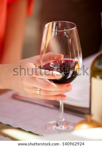 Wine glass in the cafe - stock photo