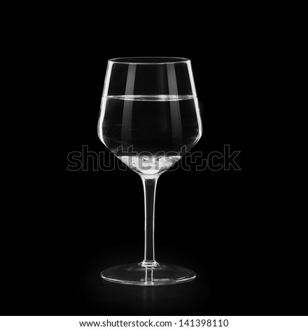 wine glass of water  on black background