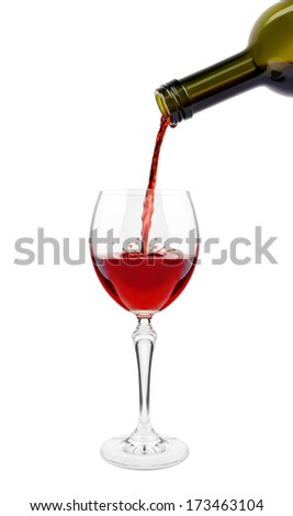 Wine glass on a white background