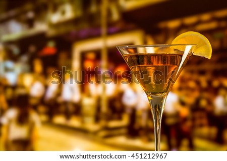 Wine glass on the people background