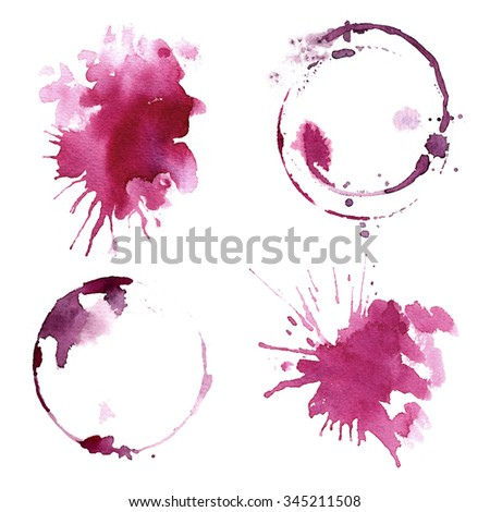 Wine glass painted with watercolors on white background. Study of a wine glass. Red wine. Abstract marks and stains on the glass. Marsala color  - stock photo
