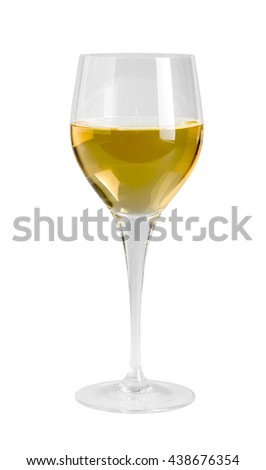 wine glass partly filled with white wine in white back - stock photo