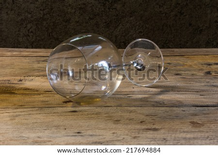 Wine Glass still life on wood table - stock photo