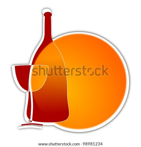 Wine glass sun in the background - as an illustration - stock photo