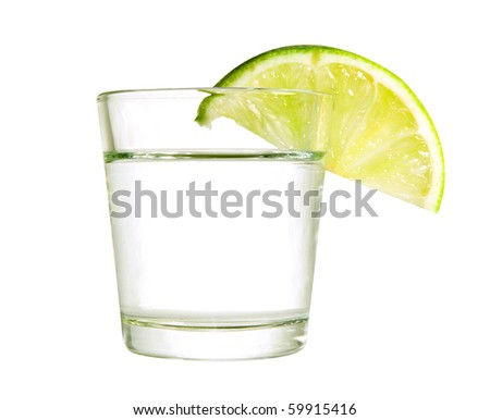 Wine-glass with a lime isolated on a white background