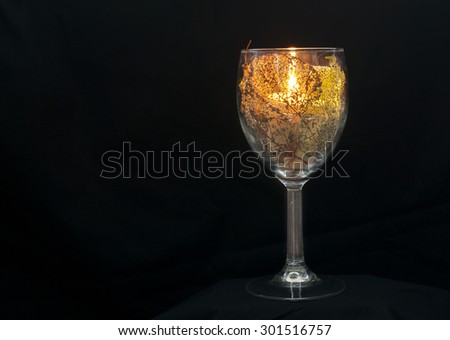 Wine glass with leaves and a candle